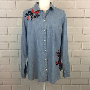 Old Navy Chambray Floral Embroidery Button Up Top
